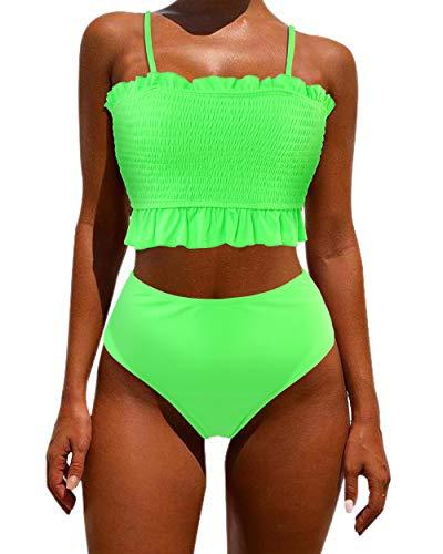 OMKAGI Women's Bandeau Bikini Sets Cute Shirred Swimsuit High Waisted Bathing Suit(S,Green Floral)