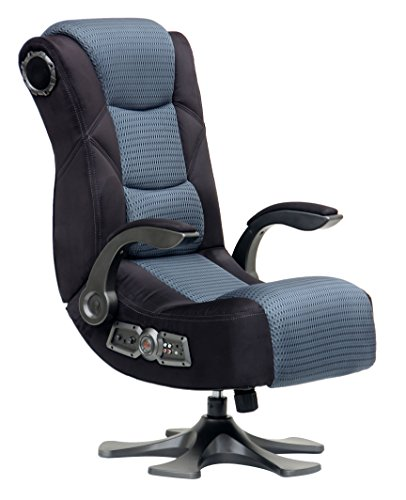 X Rocker Deluxe Mesh 2.1 Sound Wireless Video Gaming Chair Pedestal Video Gaming Chair with Breathable Microfiber Mesh - Lumbar Support & Padded Armrests, 2 Speakers w/Subwoofer - Black/Gray, 5129501 chair gaming gray