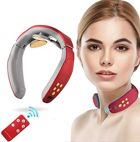 Nackenmassagegerät,Intelligentes Elektrisches Puls-Nackenmassagegerät,Elektrisches Nackenmassagegerät mit Heizfunktion,4 Pulsmodi, 15 Intensitätsempfindungen, Drahtlose Fernbedienung USB Schnellladung
