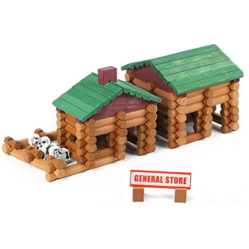 Wondertoys 170 Pieces Wood Logs Set Ages 3+, Classic Building Log Toys for Boy, Creative Construction Engineering Educational Gifts