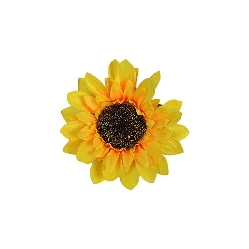 """silk flower arrangements canjoyn 50/pcs artificial silk sunflower heads fabric floral for sunflower diy wedding fall autumn party floral wreath accessories bride holding flowers,garden craft art decor (diameter: 4.7"""")"""
