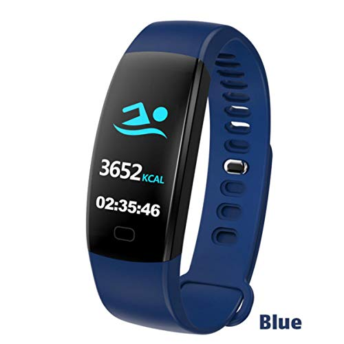 FXMINLHY Wasserdichtes Smart Armband Fitness Tracker Schrittzähler Fitness Band Wecker Vibrationsarmband für Smartphone, Blaue Herzfrequenz-Schrittzähler