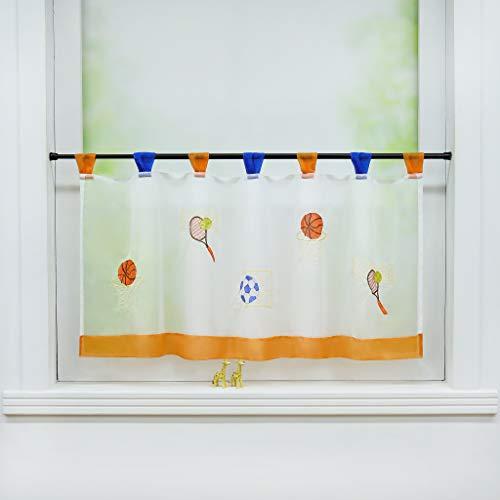 Joyswahl Scheibengardine Voile Bistrogardine »Sport« mit Fußball Muster Transparente Kinderzimmer Gardine Stores HxB 45x120cm Orange 1er Pack