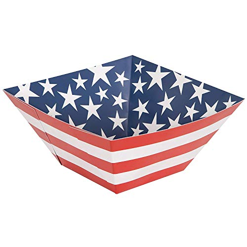 Unique Party 58647 - Stars and Stripes 4th of July Square Paper Bowl