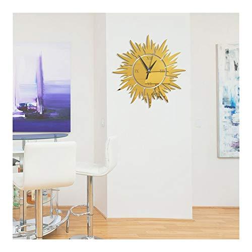 XINF Spiegel Wandklok DIY Acryl Zelfklevende Verwijderbare Zon Bloem Art Slaapkamer Woonkamer Achtergrond Muursticker Klok