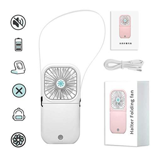 IUYJVR Ventilador de enfriamiento portátil Plegable de Mano, Mini Ventilador portátil al Aire Libre Manos Libres, Mini Banco de energía Recargable de Enfriador de Aire - para el hogar y los Viajes