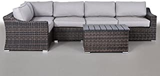 Century Modern Outdoor Marina Collection Patio Furniture Sofa Garden, Sectional Furniture Set Resort Grade Furniture. No Assembly Required [CM-5908] (6 Piece, Marina Brown)