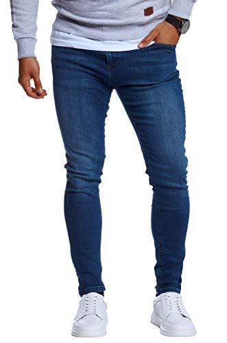 Leif Nelson Herren Jeans Hose Slim Fit Denim Blaue Schwarze Lange Jeanshose für Männer Coole Jungen weiße Stretch Freizeithose Schwarze Cargo Chino Sommer Winter Basic LN0103 Blau W38/L32