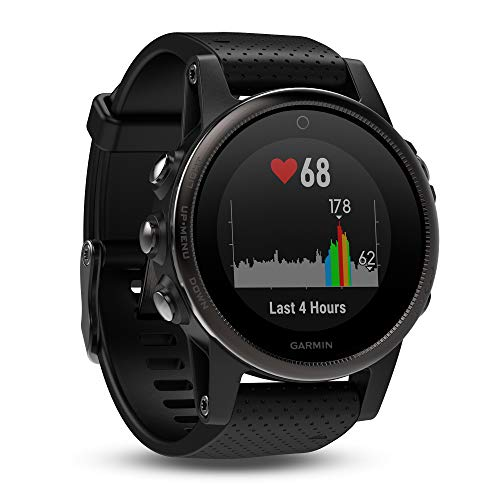 Garmin fēnix 5, Premium and Rugged Multisport GPS Smartwatch, Black with Black Band (Renewed)