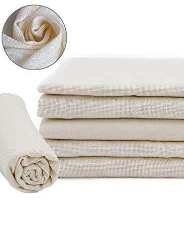 Auckpure Nussmilchbeutel, 6 Stück Käsetuch, Cheesecloth, Leinentuch, 100% Naturrein Baumwolle Cloth, Küche Dampftuch, Lebensmittel Zubereiten und Filter (50X50cm Filtertuch), 1