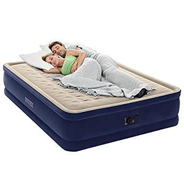 Intex Dura-Beam Series Elevated Deluxe Airbed with Built-in Electric Pump, Bed Height 18 , Queen - Amazon Exclusive