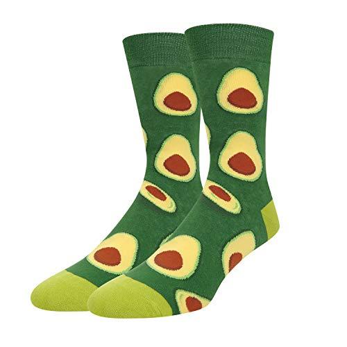Zmart Men's Avocado Socks Funny Crazy Novelty Fruit Crew Socks in Green Gift