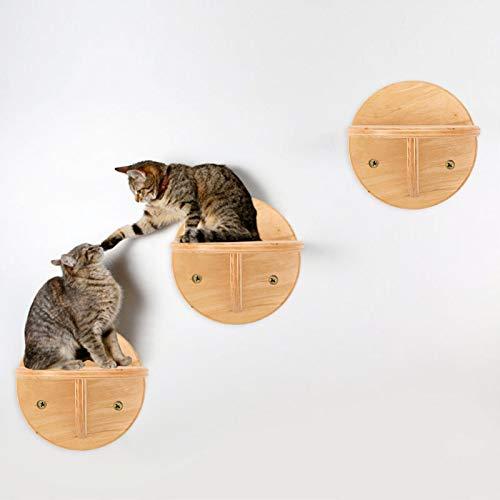 Estantería de madera para gatos con hamaca para gatos y camas y barras de asiento en la pared para dormir, jugar escalando y descansar