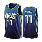 WEIZI Camiseta de Baloncesto para Hombre Camiseta de Dallas Mavericks Luka Doncic # 77, Camiseta de Uniforme de Baloncesto City Edition, Camiseta de Baloncesto de Malla Bordada Swingman,Verde,XL