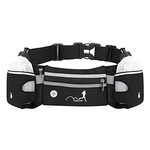 Activ - Cinturón para correr con botellas de agua, cinturón de hidratación impermeable para iPhones, bolsa de cintura deportiva ajustable para maratón, correr, senderismo, ciclismo