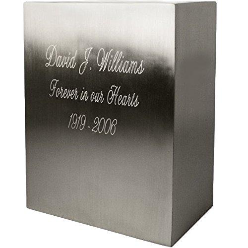 Rectangular Brushed Metal Military Memorial Urn (Engraved, Pewter)