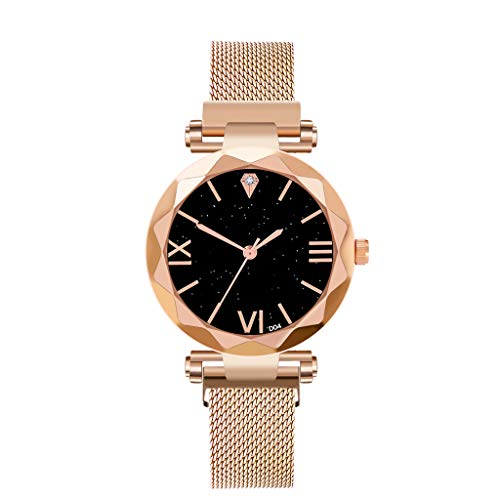 Damen Uhr,Zimuuy Mode Luxusuhr Minimalist Sternenhimmel Wasserdicht Magnet Edelstahlband Casual Armbanduhr (Gold)