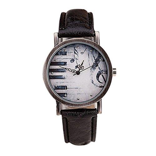 SSITG Unisex polshorloge retro noten piano sleutelpatroon leer horloge geschenk geschenk