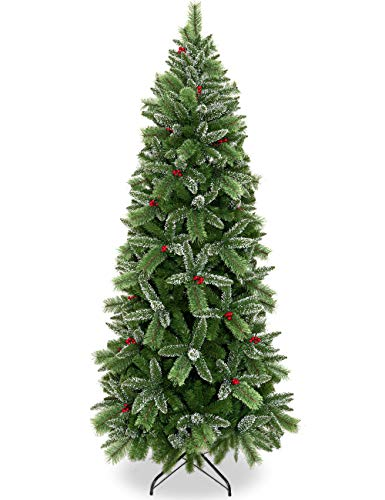 Yeenuo Artificial Christmas Tree 6ft Unlit Premium Xmas Full Hinged Pencil Tree with Pine Needles Snow Flocked and Red Berries