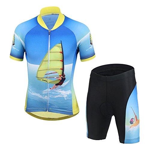 Niños Maillot de Bicicleta Ropa de Ciclo raje De Ciclismo Conjunto De Maillot Y Pantalones Cortos para Niño/Niña (Bicicleta Camiseta Manga Corta + Pantalones con Asiento Acolchado)-M