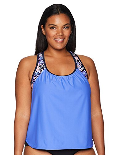 ZeroXposur Women's Plus Size Links Action 2For Tankini Top, Blue, 18W