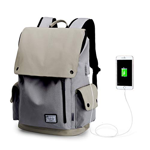 Wind Took USB Anschluss Laptop Rucksack Damen Herren Daypack Schulrucksack für 15,6 Zoll Notebook, Wasserabweisend, Beige