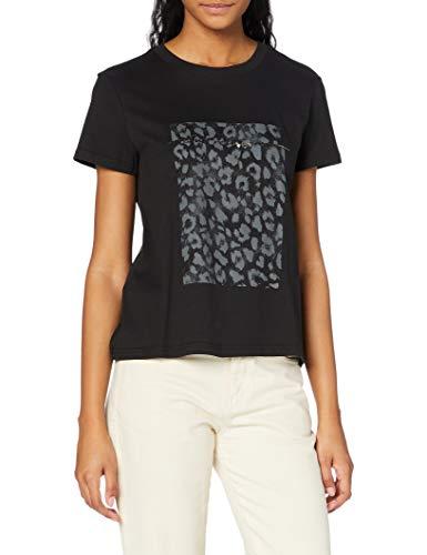 True Religion Leopard Classic Crew Camiseta, Antracita, M para Mujer