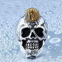 リング 指輪 メンズ ステンレス ヴォルガ― スカル リング ドクロ 骸骨 髪 316Lサージカルステンレス シルバー(ゴールド) 25号(UKサイズ12)