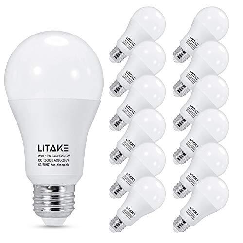 Litake A19 LED Bulbs 150 Watt Equivalent,5000K Daylight LED Light Bulbs ,E26 Medium Base, 15W LED Bulbs1600 Lumens for Home Lights, No Flicker, Non-Dimmable, 12 Packs