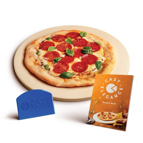 Cast Elegance Theramite Durable Pizza and Baking Stone for Oven and Grill, Includes Recipe E-Book & Cleaning Scraper, 14 inch Round, 5/8th inch Thick,...