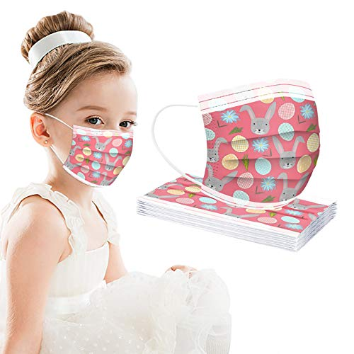 CawBing Easter Children Pink Disposable_Face_mask_protection Soft Breathable 3 Ply Unique Easter Eggs and Rabbit Theme Printing Face_mask_protection for Outdoor Anti-dust(10 Pcs)
