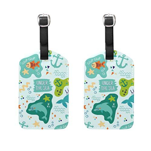 Etichetta per bagaglio, 2 pezzi, porta targhette per nome, targhetta identificativa, accessori da viaggio per borsa da viaggio, valigia, animali marini