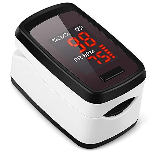 WEWILL Oxímetro de Dedo con Pantalla LCD Pulsioxímetro de Pulso para Medición de SpO2 con Alarma
