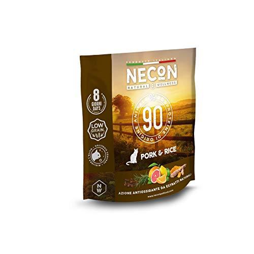 Necon Pet Food Natural Wellness Adult Porc & Riz 3 * 400 g, Nourriture pour Chat Adulte, croquettes à Faible teneur en vitamines, qualité Super Premium, Made in Italy