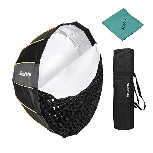 Nicefoto LED 120cm / 47.2inch Folding Deep Softbox für Aputure 120D 120D II und andere Bowens Mount Blitzlicht LED Light mit Gitter Tragetasche für Portrait Hochzeits Produktfotografie