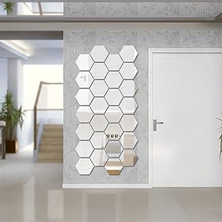 WallDaddy 3D Hexagon Mirror Wall Stickers, 3D Mirror Stickers for Wall Large Size, 3D Wall Mirror Stickers - (Pack of 20, Silver, 1.5 mm, Premium Qualty, Each Hexagon Size 10.5 cm x 12.1 cm)