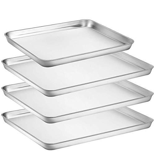 umite Chef Edelstahl Backform, 4Stück Groß Cookie-Bettlaken-Set für Toaster Ofen Tablett Pfannen, Superior Spiegel Finish, leicht zu reinigen, Spülmaschinenfest, 340,6cm & 130,5cm
