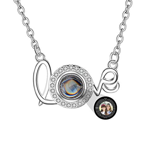 Custom Photo Necklace Projection Necklace 100 Languages I Love You Necklace Love Letter Necklace(Silver Full Color 20)