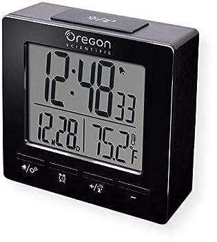 Oregon Scientific RM511A Portable Radio Controlled Alarm Clock Dual Alarms Indoor Temperature Snooze Function Time and Date Display Black