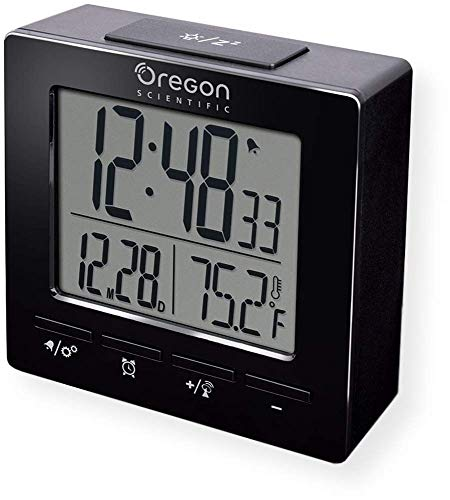 Oregon Scientific RM511A - Reloj Despertador portátil con Control por Radio, Doble Alarma, Temperatura Interior, función de repetición, visualización de Hora y Fecha, Color Negro