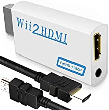 Wii to HDMI Converter 1080P with High Speed Wii HDMI Cable, Wii HDMI Adapter with 3,5mm Audio Jack&HDMI Output Compatible with Wii, Wii U, HDTV, Supports All Wii Display Modes 720P, NTS