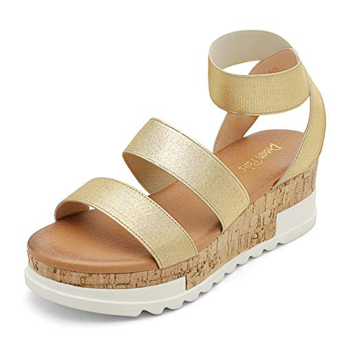DREAM PAIRS Women's Gold Open Toe Elastic Strap Casual Flatform Platform Sandals Size 8 M US Reed-1