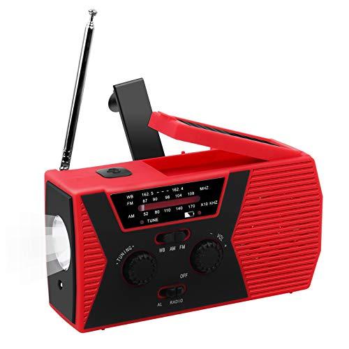 Outdoor Solar Radio, Multifunktion Tragbares Outdoor Radio Kurbelradio f¨¹r Notf?lle,mit AM/FM Wetter Radio, mit LED Taschenlampe/mit 2000mAh Eingebaute Batterie Power Bank, Notfall SOS Alarm
