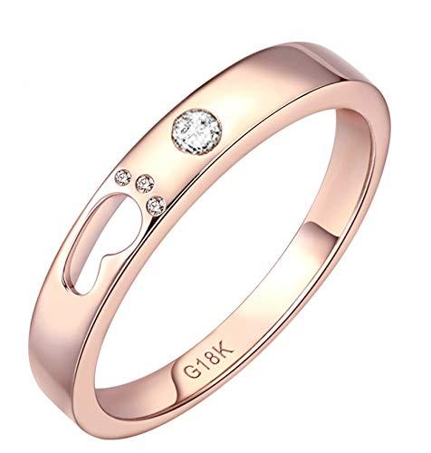 Epinki Oro Rose de 18 Quilates Anillos Hueco Huella Diamante Forma Mujeres Brillo Anillos de Amistad Oro Rose con 0.3ct Blanco Diamante Talla 11