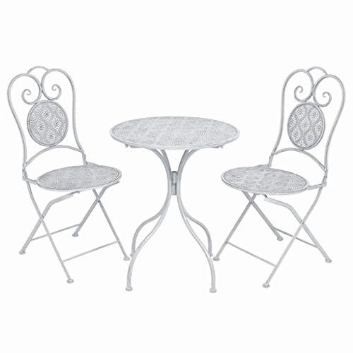 Tidyard Ensemble de Salon de Jardin Style Vintage en Acier avec 2 Chaises et 1 Table Blanc