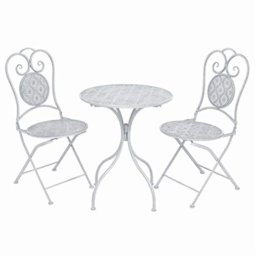 Festnight 3-delige Bistroset Eettafel en stoel salontafel voor eetkamer woonkamer keuken staal grijswit