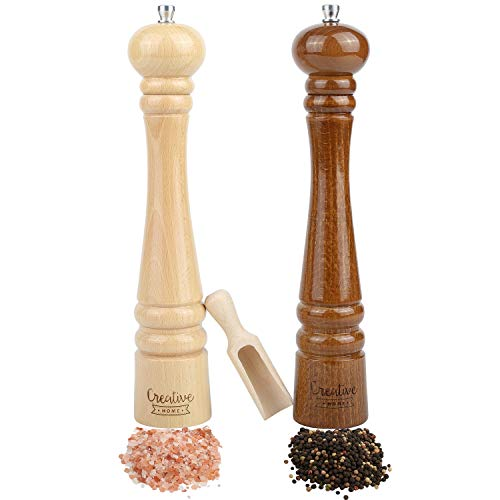 Creative Home Molinillos Grandes de Sal y Pimienta de Madera