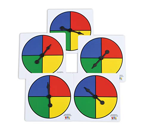 LEARNING ADVANTAGE Four-Color Spinners - Set of 5 - Game Spinner - Write On/Wipe Off Surface for Multiple Uses
