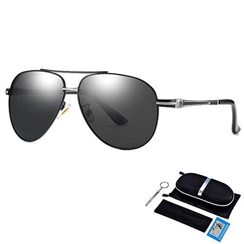 Gafas de Sol Hombres polarizados Conducción Revestimiento Espejo Gafas UV400 Gafas piloto (Lenses Color : Black Silver Gray)