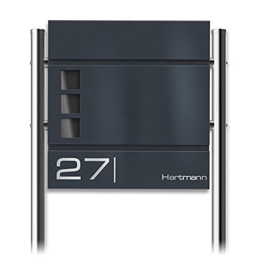 Metzler Standbriefkasten in Anthrazit RAL 7016 Cube - Name & Hausnummer als Lasergravur - Design Briefkasten mit Zeitungsfach, Fenster & Briefkastenständer - Größe: 37 x 37 x 10,5 cm - Höhe 120 cm